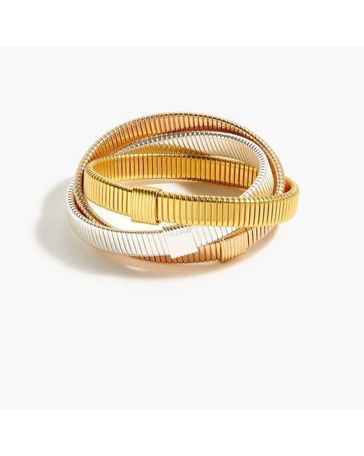 J.Crew - Metallic Interlocking Stretch Bracelets - Lyst