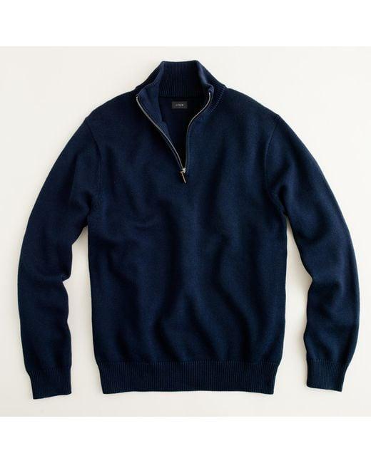 J.Crew | Blue Cotton-cashmere Half-zip Sweater for Men | Lyst