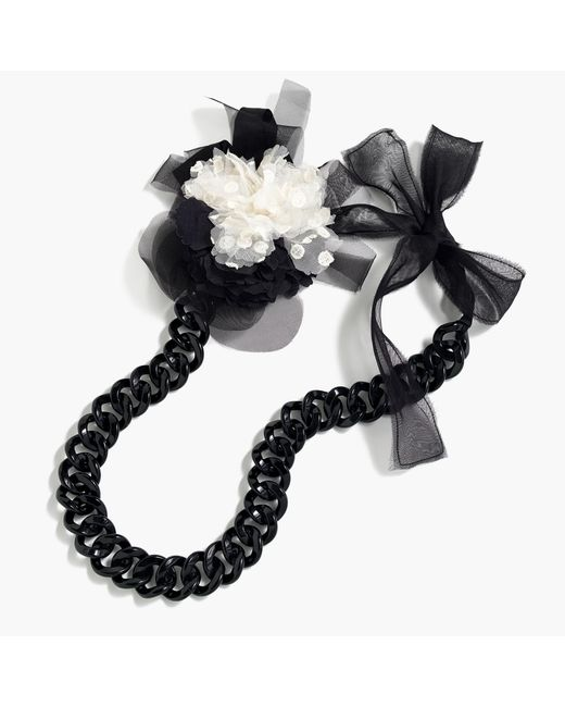 J.Crew   Black Floral Pin Chain Necklace   Lyst
