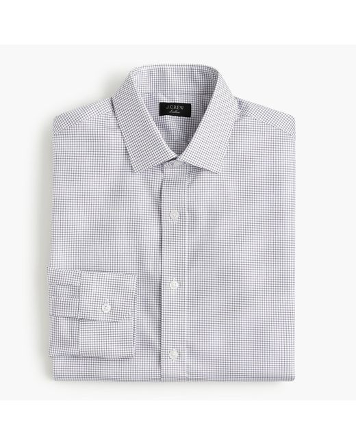 J.Crew - Blue Ludlow Slim-fit Stretch Two-ply Easy-care Cotton Dress Shirt In Microcheck for Men - Lyst
