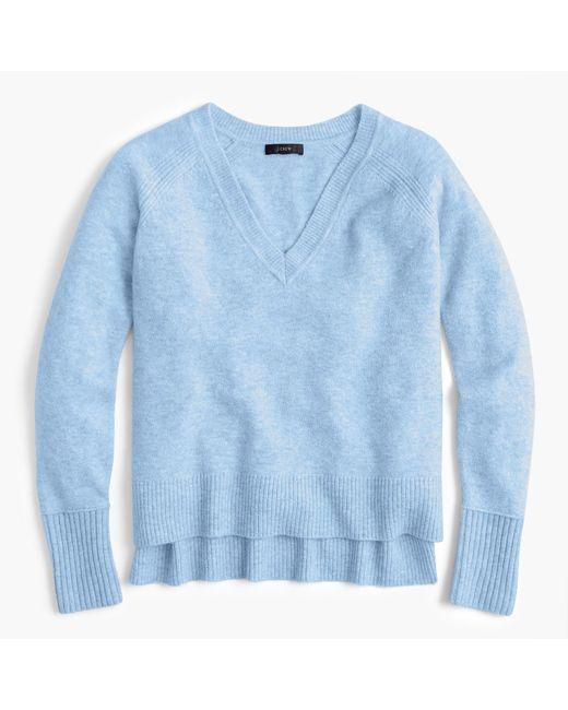 J.Crew - Blue V-neck Sweater In Yarn - Lyst