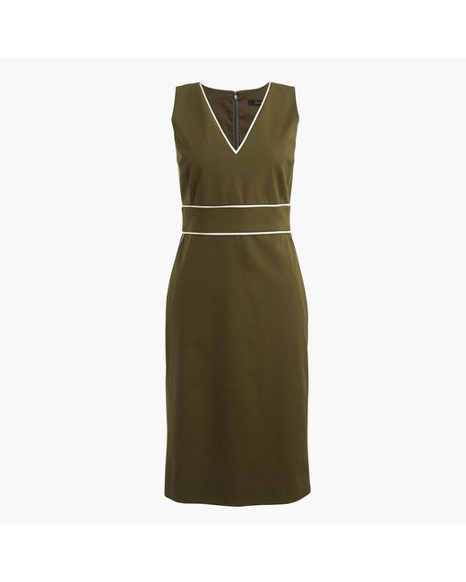 J.Crew | Green Tall Piped Dress In Stretch Cotton | Lyst