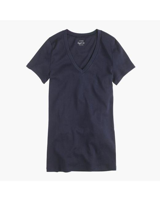 J.Crew | Blue Perfect-fit V-neck T-shirt | Lyst