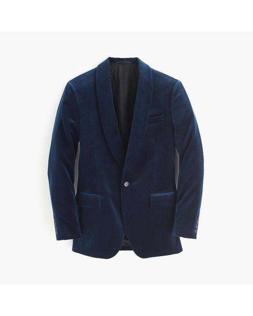 J.Crew | Blue Ludlow Shawl-collar Blazer In Velvet for Men | Lyst