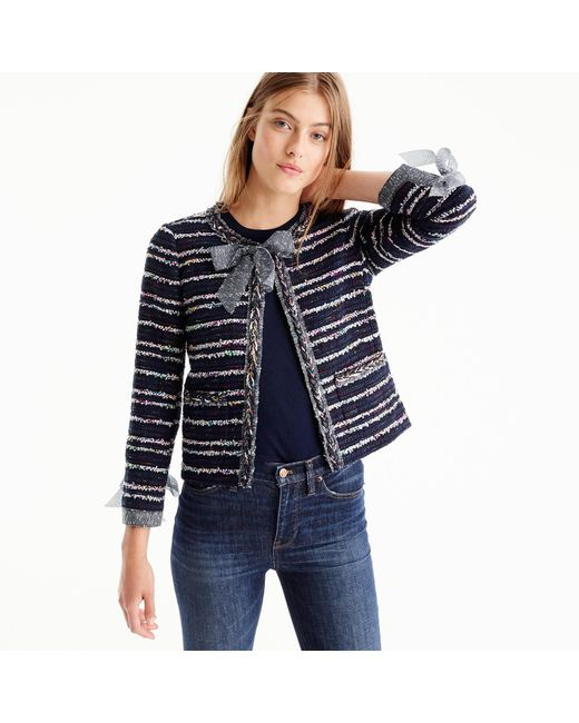 J.Crew | Blue Tweed Lady Jacket With Ties | Lyst