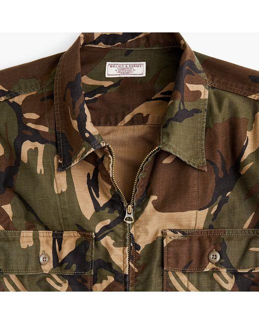 J.Crew - Brown Wallace & Barnes Zip-front Twill Shirt-jacket In Camo for Men - Lyst