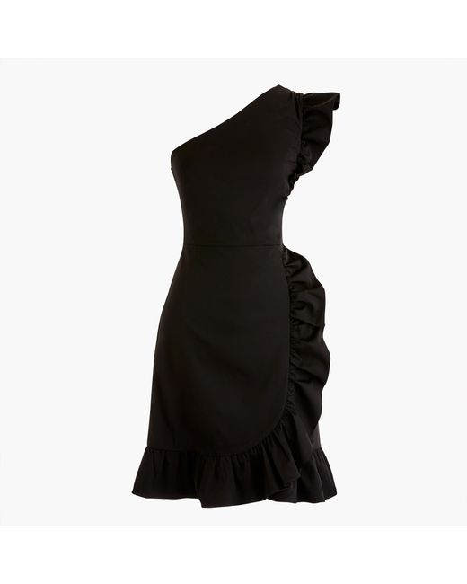 J.Crew - Black One-shoulder Ruffle Dress - Lyst