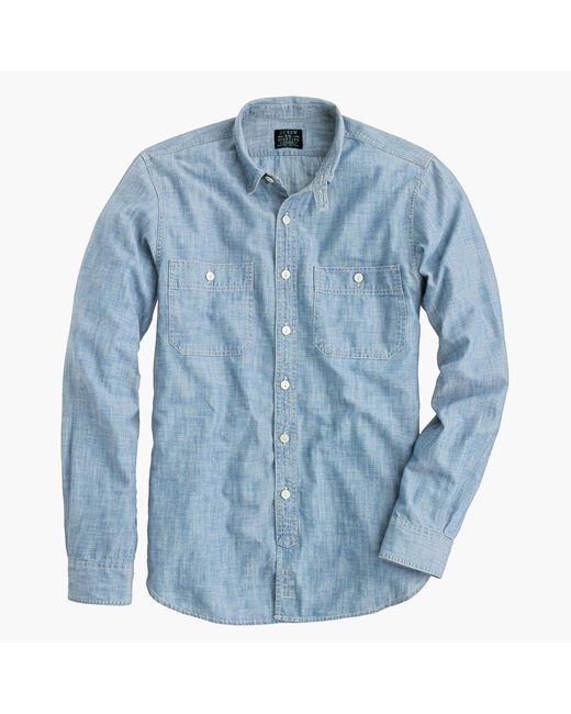 J.Crew | Blue Slim Selvedge Japanese Chambray Utility Shirt for Men | Lyst