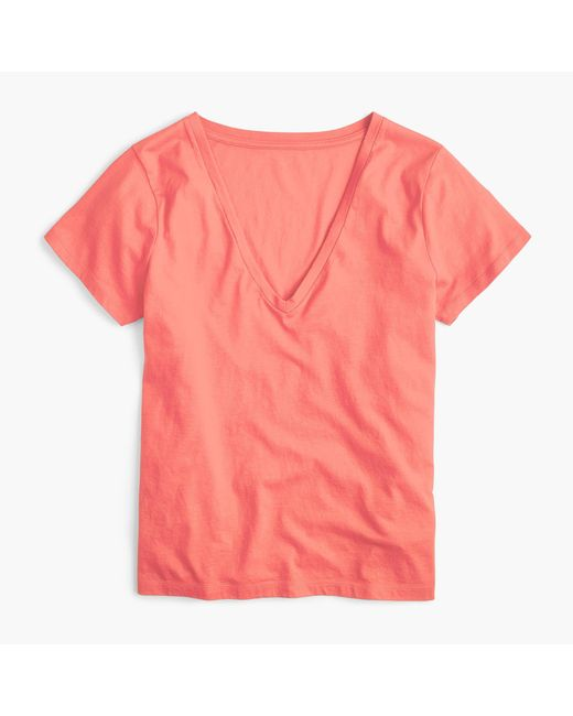 J.Crew | Pink V-neck T-shirt In Supima Cotton | Lyst