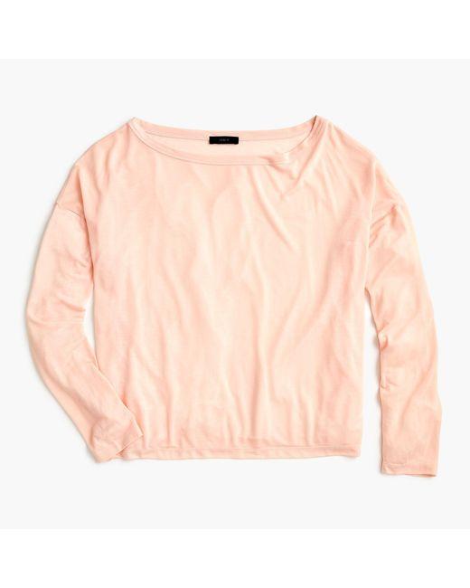 J.Crew - Pink Long-sleeve Lyocell T-shirt - Lyst