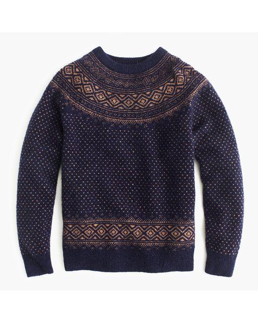 J.crew Alpaca-lambswool Sweater In Blue Fair Isle Yoke in Blue for ...