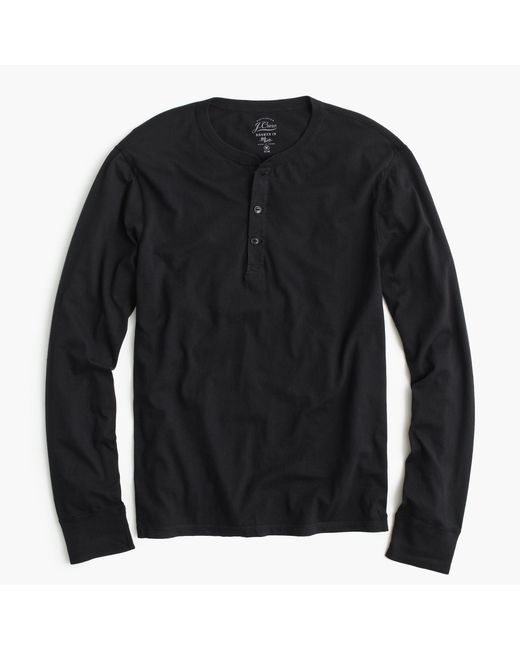 J.Crew | Black Slim Broken-in Henley for Men | Lyst