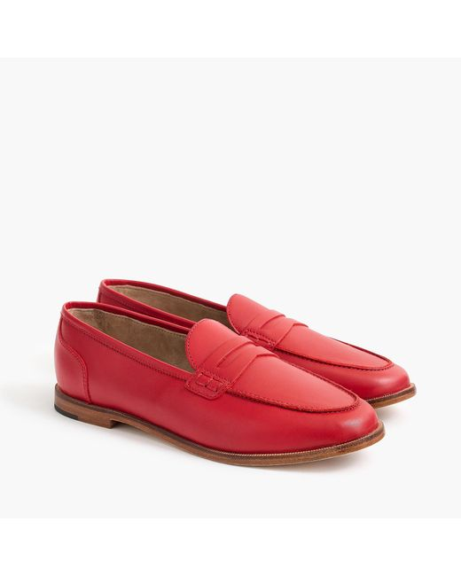 J.Crew - Red Ryan Penny Loafers In Leather - Lyst