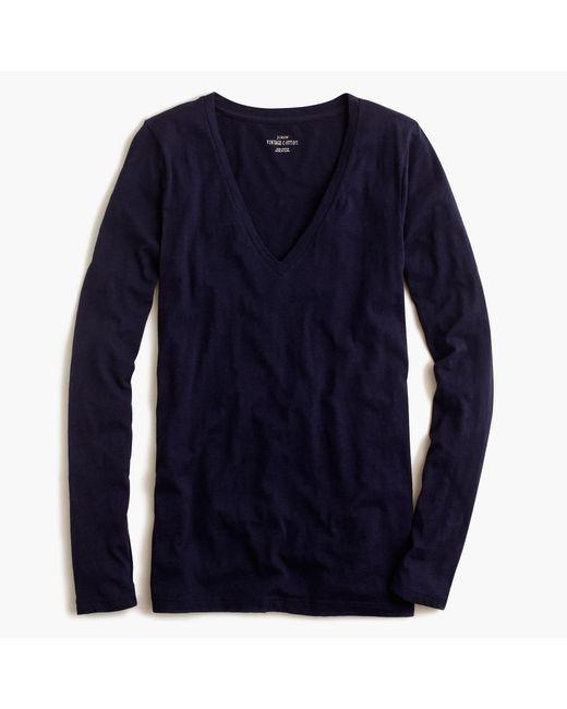 J.Crew | Blue Vintage Cotton Long-sleeve V-neck T-shirt | Lyst