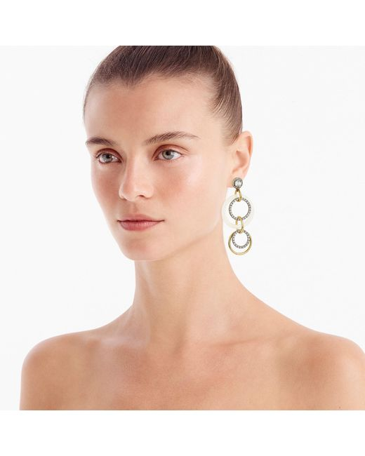 J.Crew - Metallic Crystal And Gold Circle Drop Earrings - Lyst