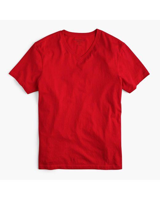 J.Crew - Red Mercantile Broken-in V-neck T-shirt for Men - Lyst