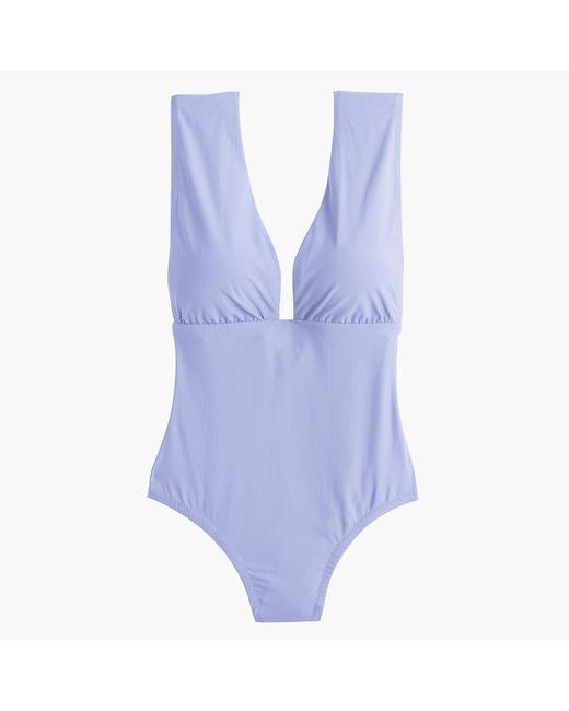 J.Crew | Blue Plunge V-neck One-piece Swimsuit | Lyst