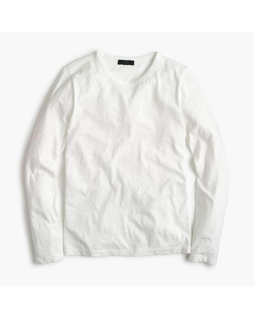 J.Crew - White Long-sleeve Crewneck T-shirt In Slub Cotton for Men - Lyst