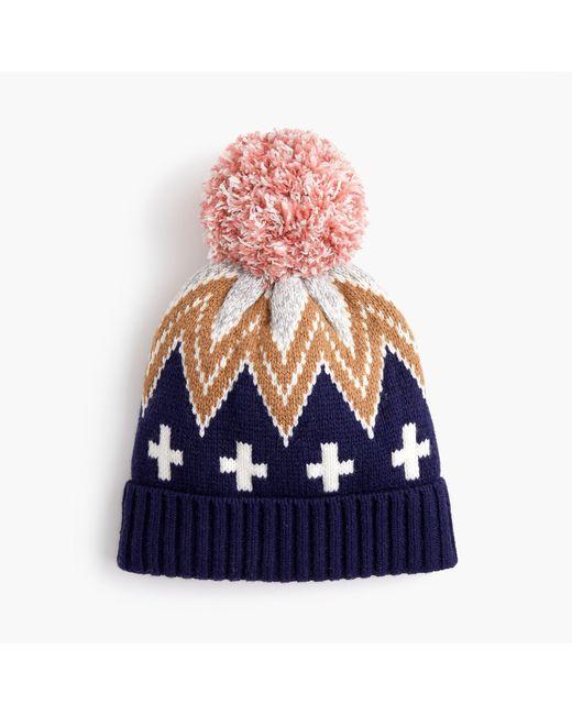J.Crew - Multicolor Patchwork Fair Isle Knit Hat - Lyst