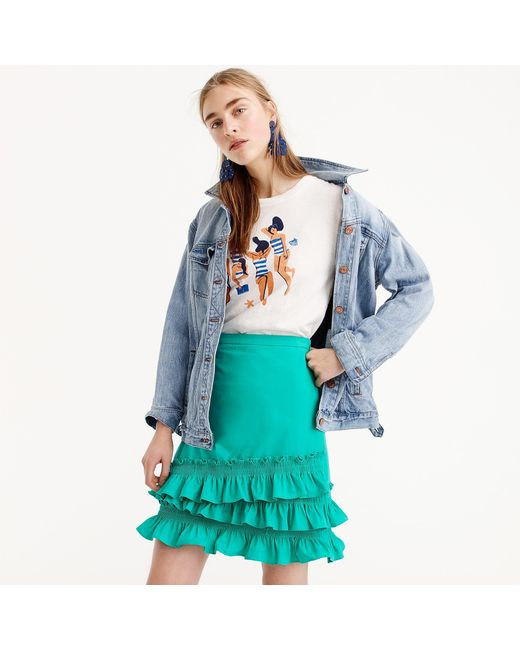 J.Crew - Blue Petite Ruffle Skirt In Cotton-poplin - Lyst