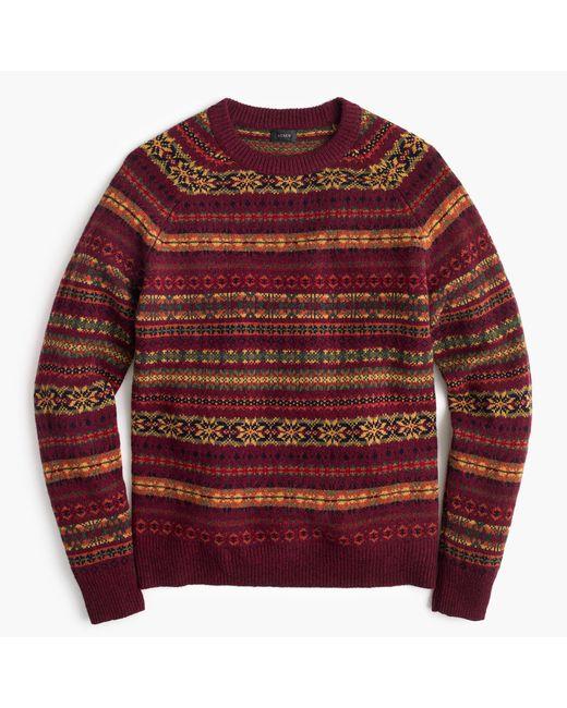 J.crew Lambswool Fair Isle Crewneck Sweater In Burgundy in Red for ...