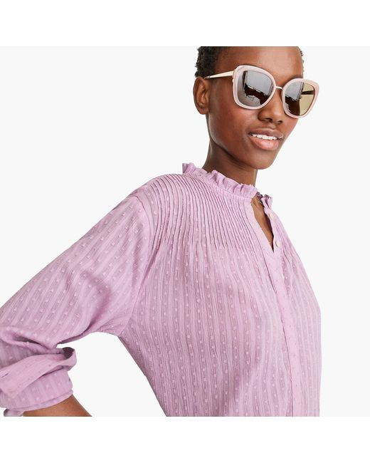 J.Crew - Purple Point Sur Ruffle Classic Popover Shirt In Clip Dot - Lyst