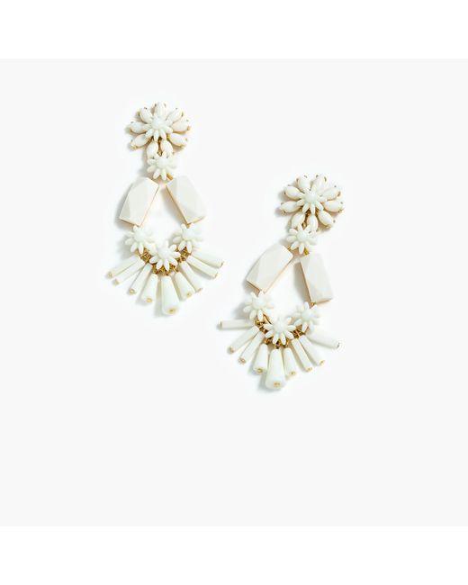 J.Crew - White Flower-and-bead Chandelier Earrings - Lyst