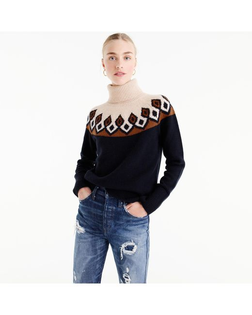 J.crew Fair Isle Turtleneck Sweater in Blue | Lyst