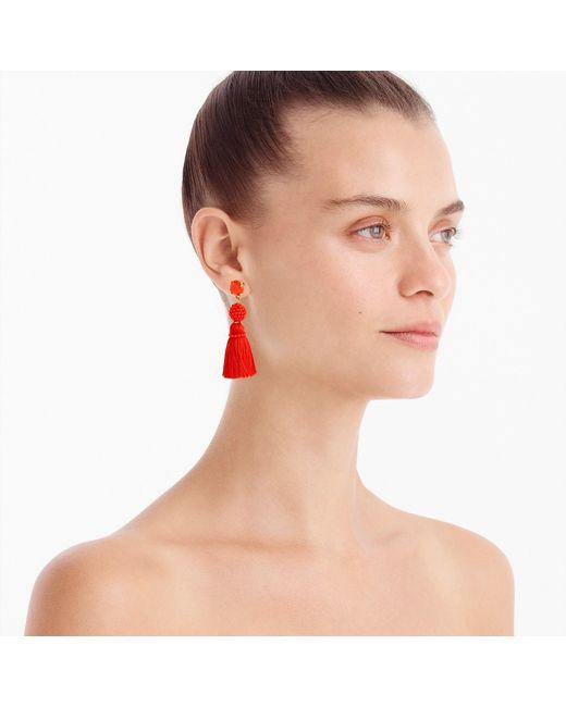 J.Crew - Multicolor Bead And Tassel Earrings - Lyst