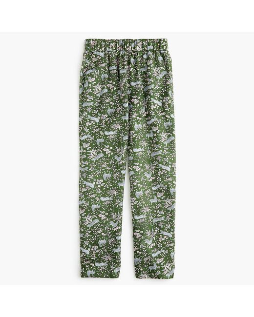 J.Crew - Green Petite Pull-on Easy Pant In Printed Silk Twill - Lyst