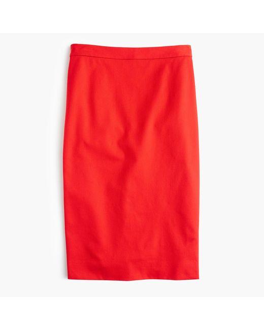 J.Crew   Red Tall Pencil Skirt In Bi-stretch Cotton   Lyst
