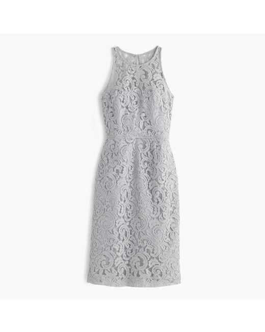 J.Crew | Gray Pamela Dress In Leavers Lace | Lyst