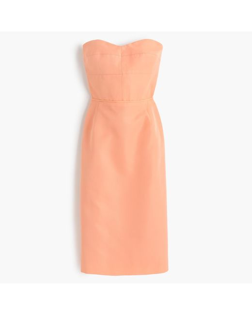 J.Crew | Orange Rory Strapless Dress In Classic Faille | Lyst
