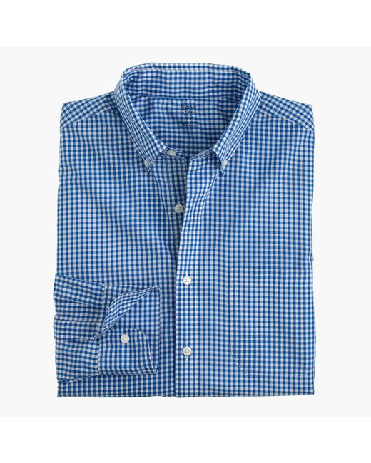 J.Crew | Blue Slim Lightweight Secret Wash Shirt In Gingham for Men | Lyst