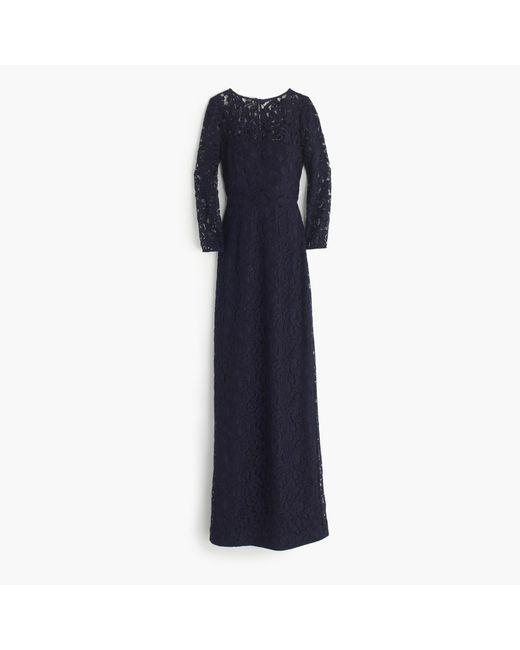 J.Crew | Blue Selina Long Dress In Leavers Lace | Lyst