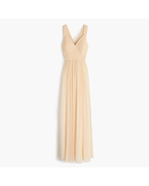 J.Crew | Metallic Anabel Long Dress In Silk Chiffon | Lyst