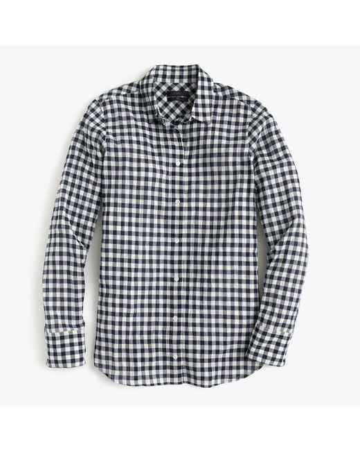 J.Crew | Black Petite Boy Shirt In Crinkle Gingham | Lyst