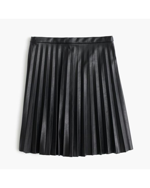 J.Crew | Black Faux-leather Pleated Mini Skirt | Lyst