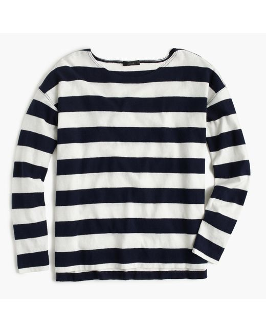 J.Crew | Blue Striped Cotton Henley Top | Lyst