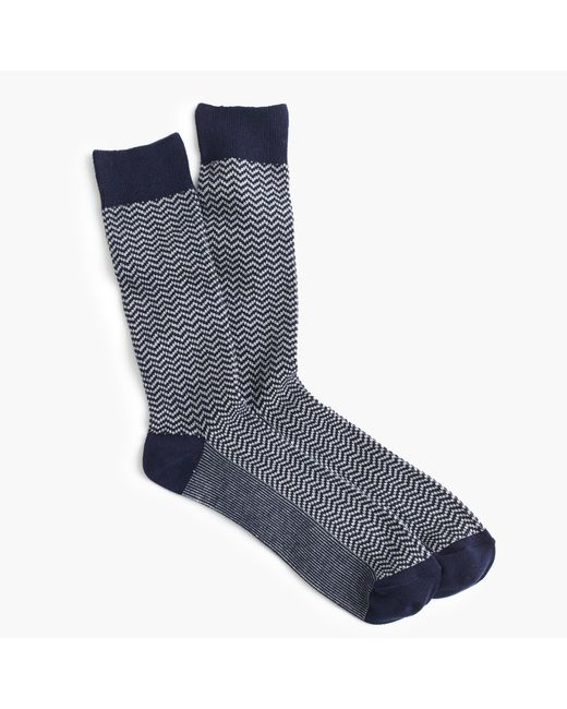 J.Crew | Blue Zigzag Socks for Men | Lyst