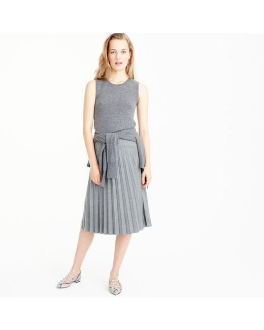 j crew pleated midi skirt in wool in gray lyst