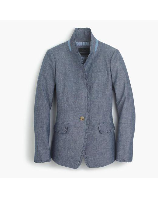 J.Crew | Blue Chambray Regent Blazer With Ruffle Trim for Men | Lyst