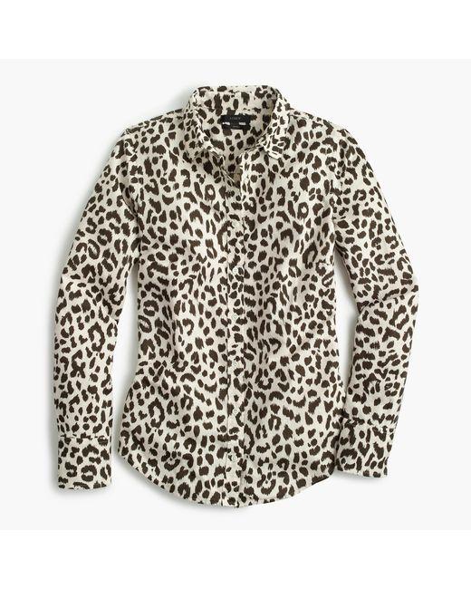 J.Crew   White Petite Cotton-linen Perfect Shirt In Leopard Print   Lyst