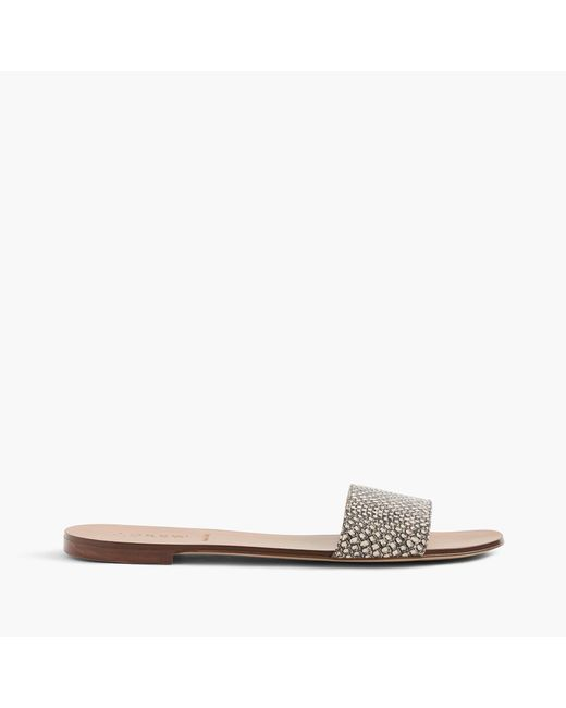 J.Crew | White Snakeskin-printed Leather Slides | Lyst