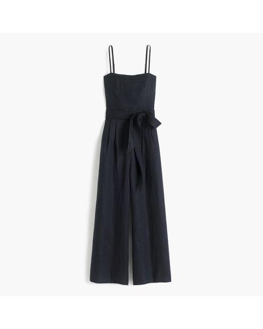 J.Crew | Black Petite Linen Jumpsuit With Tie | Lyst