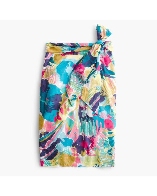 J.Crew   Blue Petite Tie-waist Skirt In Seaside Floral   Lyst