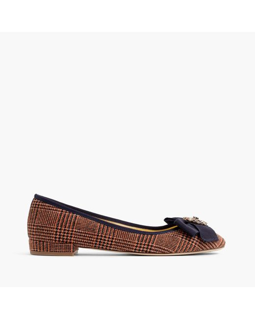 J.Crew | Brown Plaid Bow Flats | Lyst