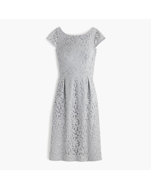 J.Crew | Gray Petite Elsa Dress In Leavers Lace | Lyst