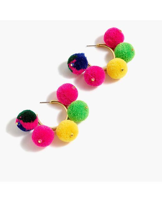 J.Crew - Multicolor Pom-pom Hoop Earrings - Lyst