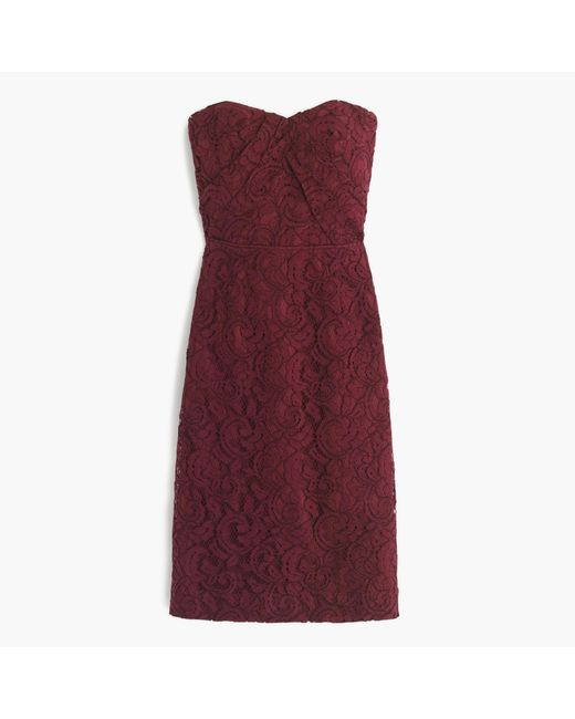 J.Crew | Purple Kelsey Strapless Dress In Leavers Lace | Lyst